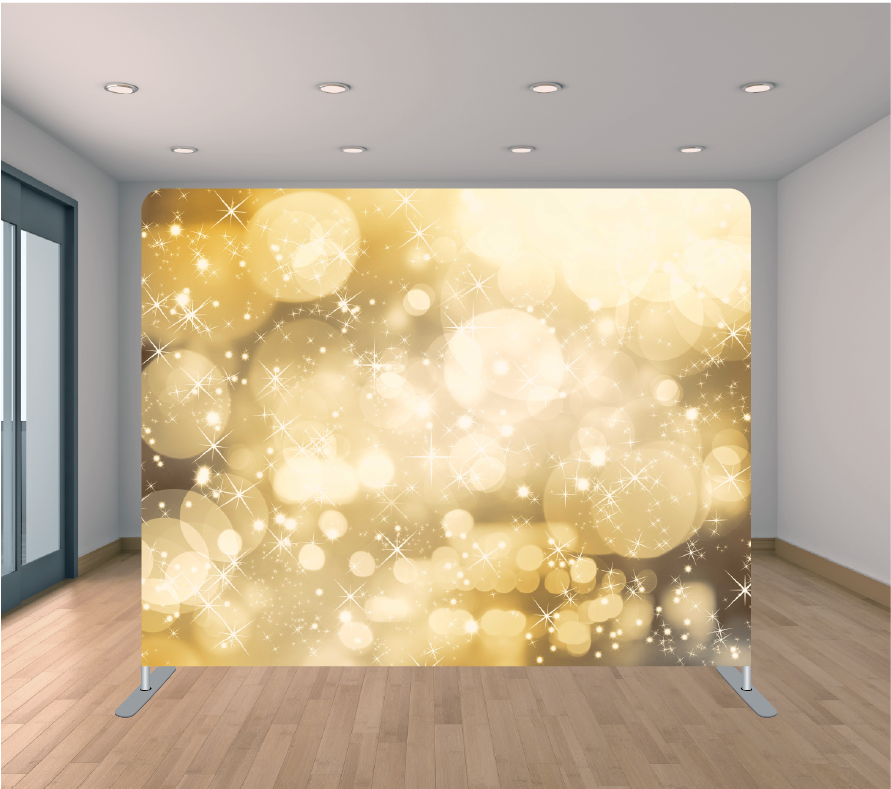 8X8ft Pillowcase Tension Backdrop- Gold Stars and Bubbles