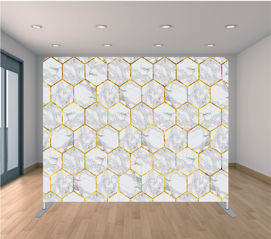 8X8ft Pillowcase Tension Backdrop- Gold Streak Marble