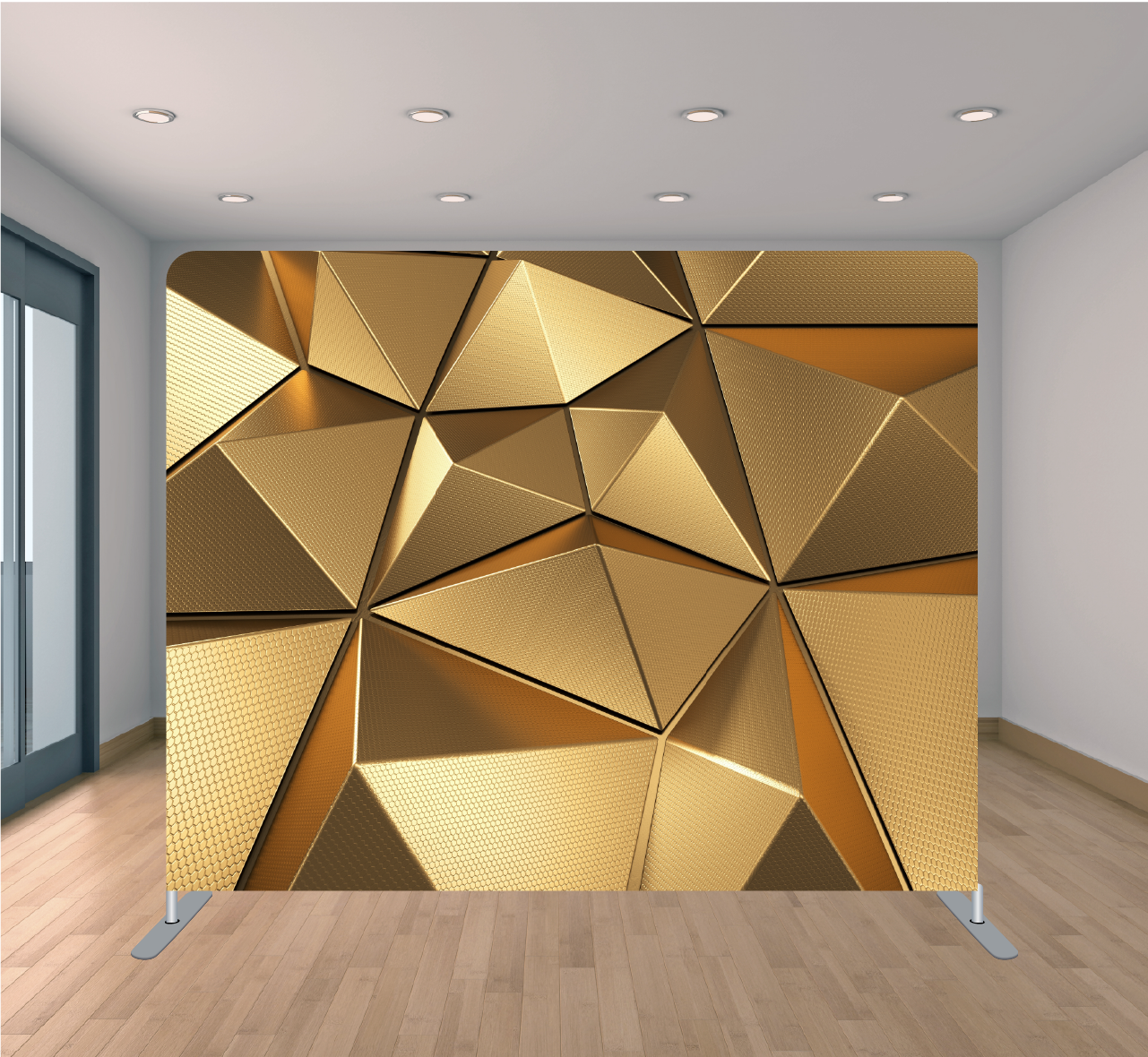 8X8ft Pillowcase Tension Backdrop- Golden Geometric