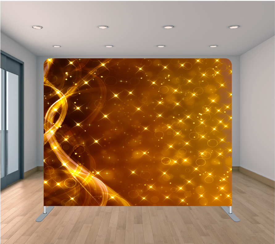 8X8ft Pillowcase Tension Backdrop-Golden Stars