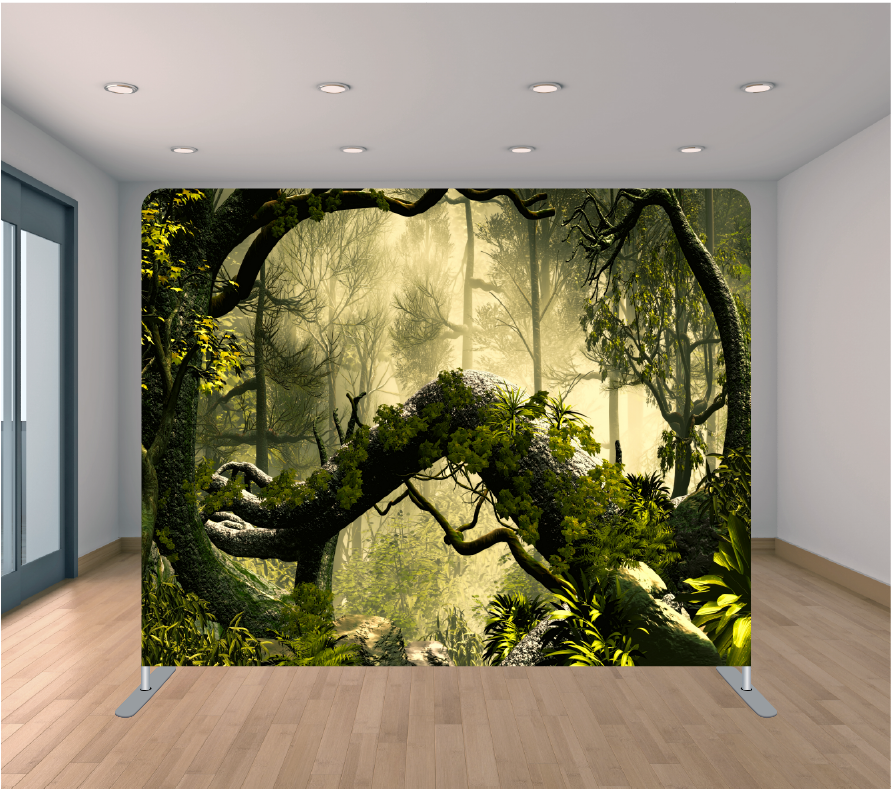 8X8ft Pillowcase Tension Backdrop- Green Forest