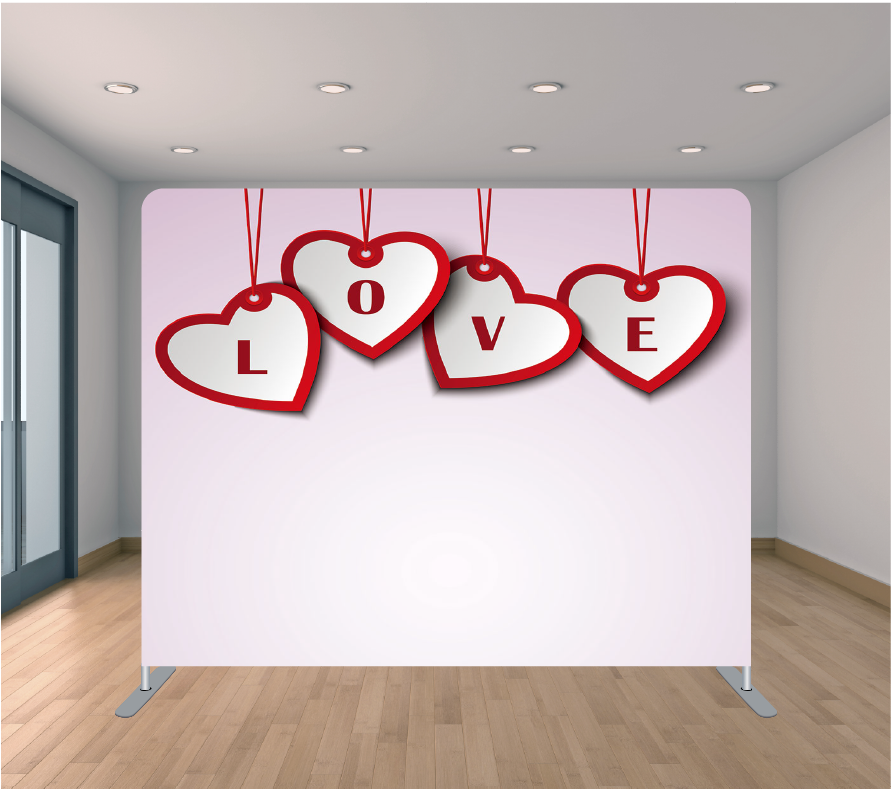 8X8ft Pillowcase Tension Backdrop- Hanging Red Love