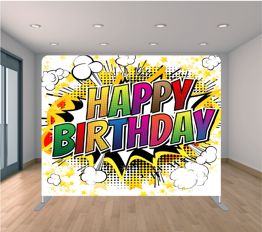 8X8ft Pillowcase Tension Backdrop- Happy Birthday Comic