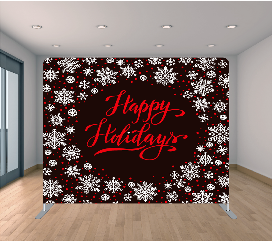 8X8ft Pillowcase Tension Backdrop- Happy Holidays