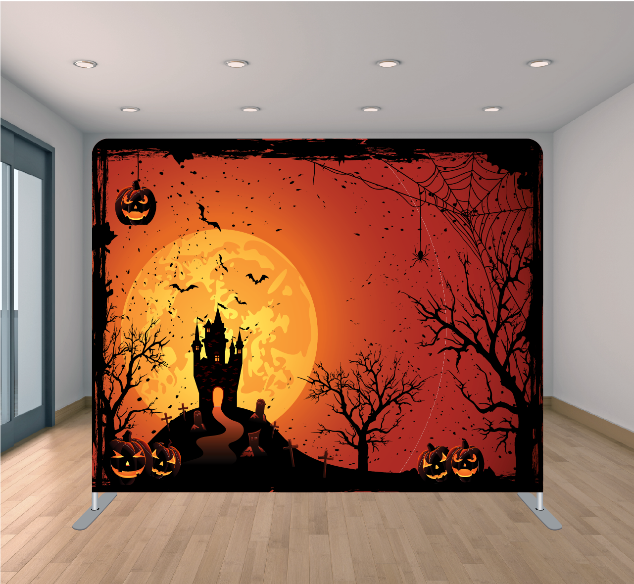 8x8ft Pillowcase Tension Backdrop- Haunted House 2