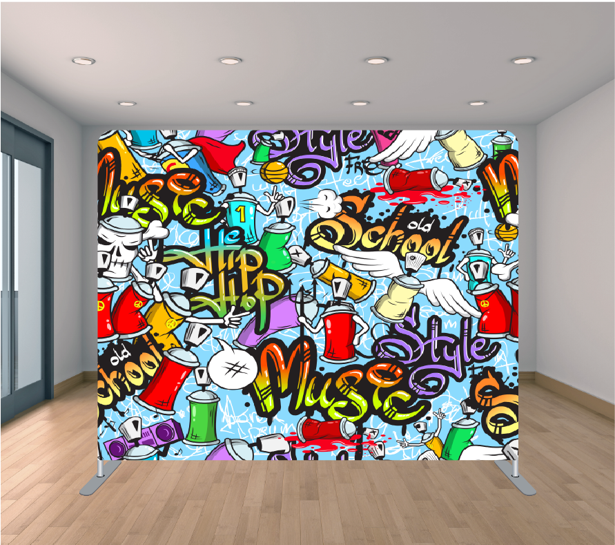 8X8ft Pillowcase Tension Backdrop- Hip Hop Graffiti