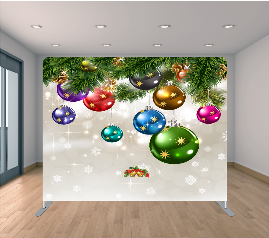 8X8ft Pillowcase Tension Backdrop- Holiday Ornament Bubbles