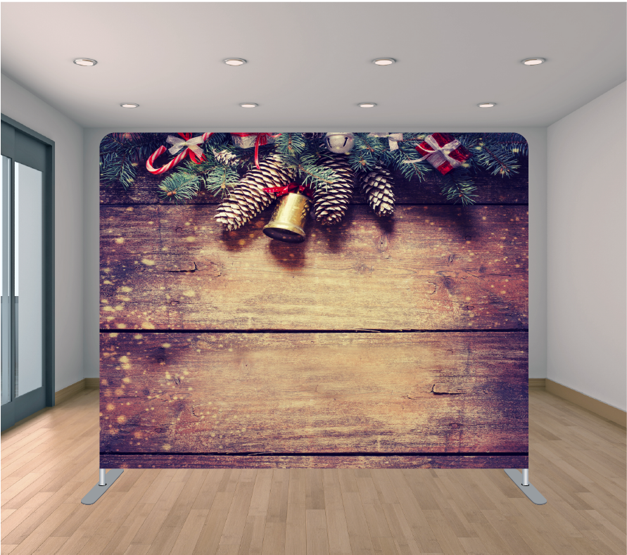 8X8ft Pillowcase Tension Backdrop- Holiday Pine Cones