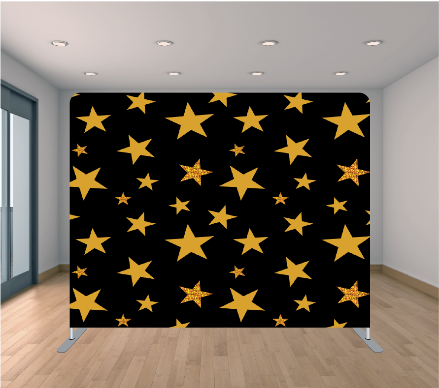 8X8ft Pillowcase Tension Backdrop- Large Gold Stars