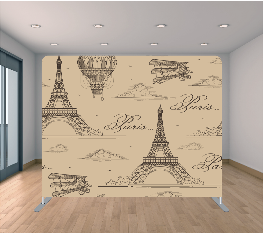 8X8ft Pillowcase Tension Backdrop- Light Brown Paris