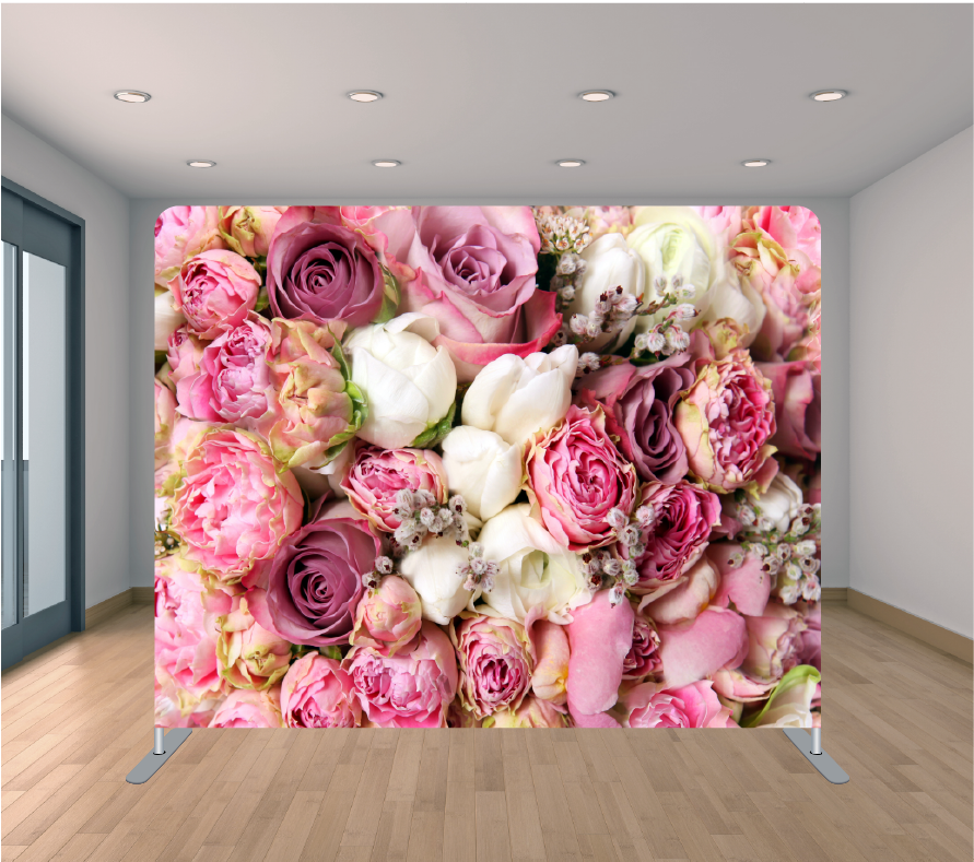 8X8ft Pillowcase Tension Backdrop- Light Pink Roses