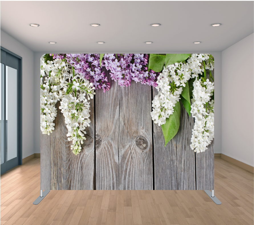 8X8ft Pillowcase Tension Backdrop- Lilac Wood Flowers