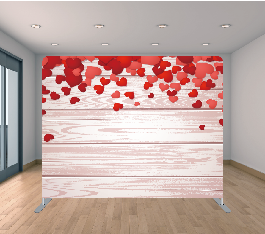 8x8ft Pillowcase Tension Backdrop- Mini Red Hearts Wood