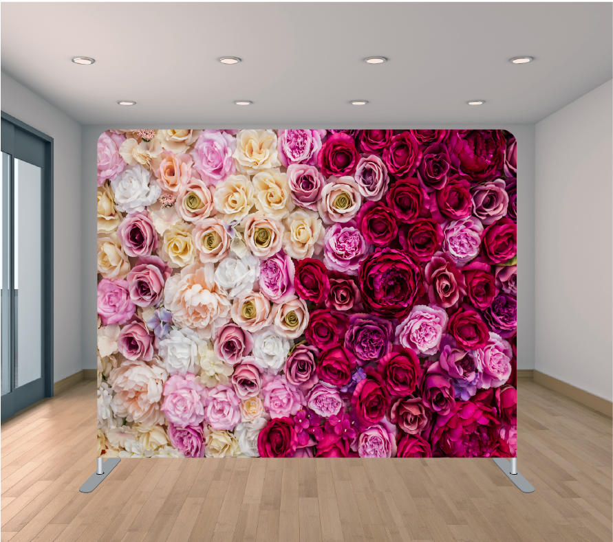 8X8ft Pillowcase Tension Backdrop- Mixed Rose Petals