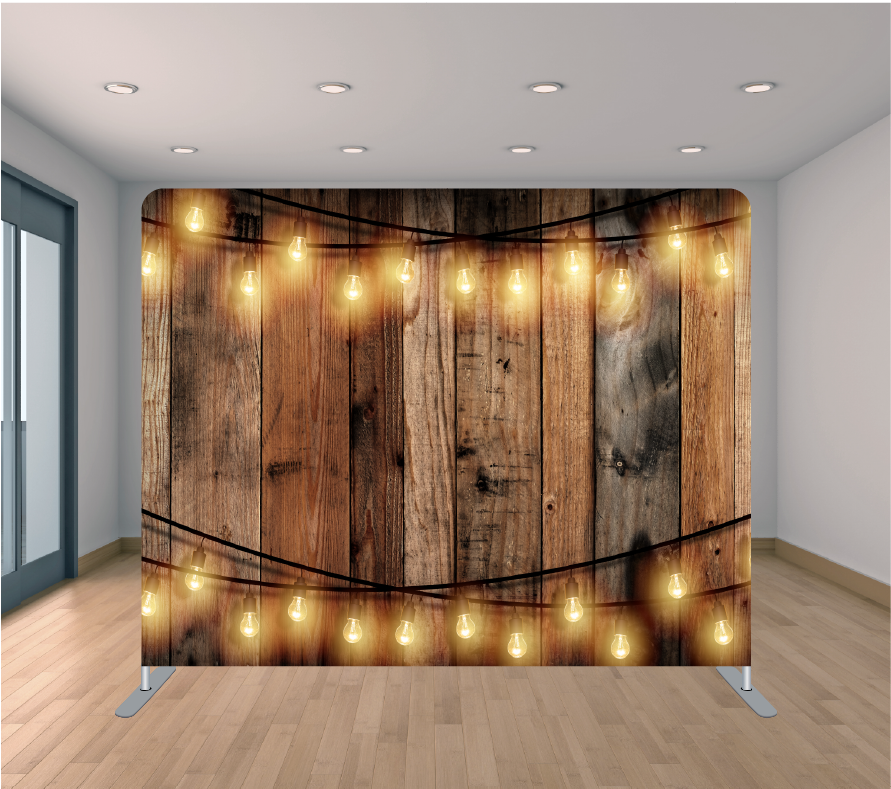 8X8ft Pillowcase Tension Backdrop- Multi Wood with String Lights