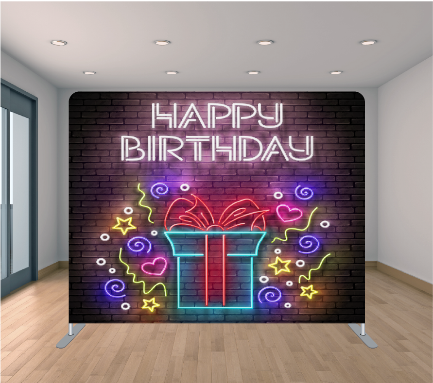 8X8ft Pillowcase Tension Backdrop- Neon Birthday Present