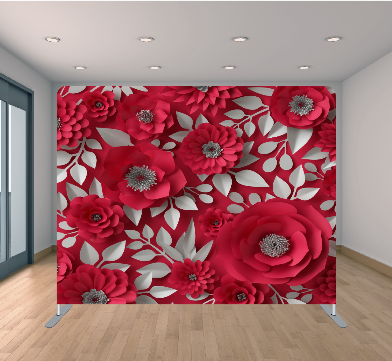 8x8ft Pillowcase Tension Backdrop- Red Paper Floral