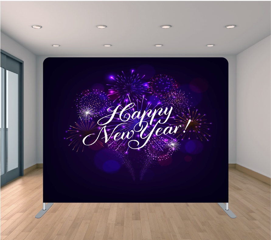 8X8ft Pillowcase Tension Backdrop- New Year Fireworks