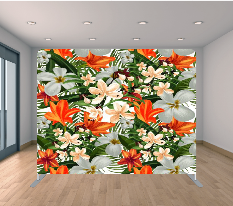 8x8ft Pillowcase Tension Backdrop- Orange Leaf (Flowers)