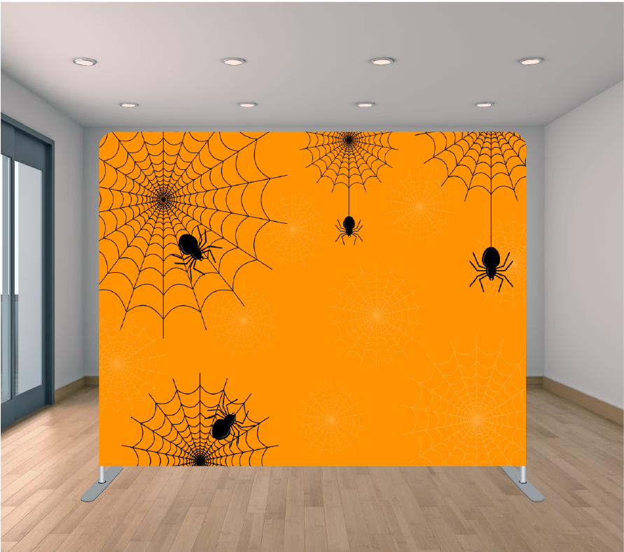 8X8ft Pillowcase Tension Backdrop- Orange and Black Webs (Halloween)