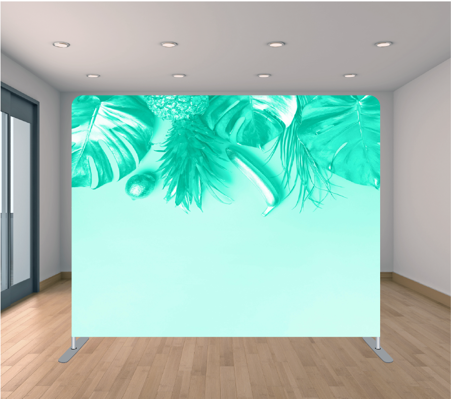 8X8ft Pillowcase Tension Backdrop- Light Palm Blue Top