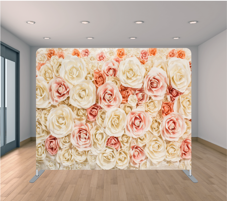 8X8ft Pillowcase Tension Backdrop- Peachy Roses
