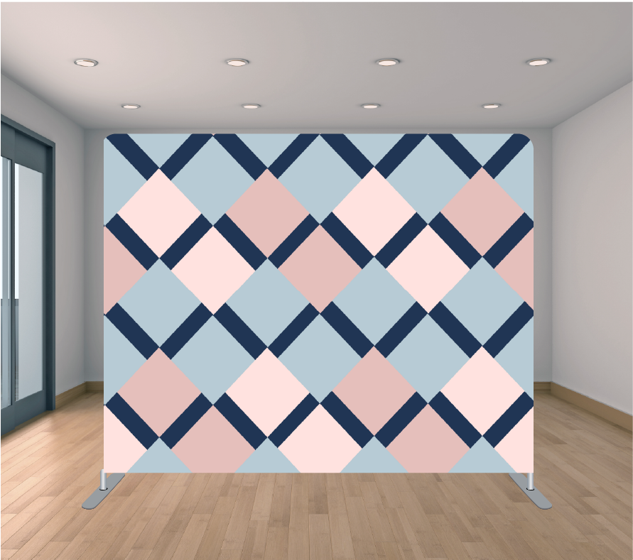 8X8ft Pillowcase Tension Backdrop- Pink and Blue ZigZag