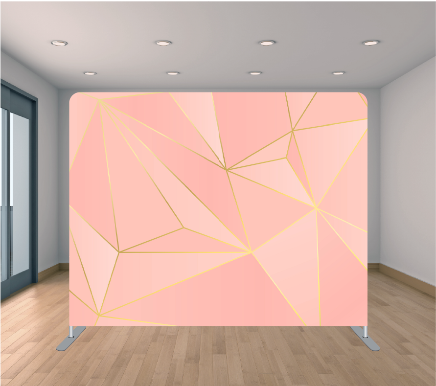 8X8ft Pillowcase Tension Backdrop- Pink and Gold Geometric