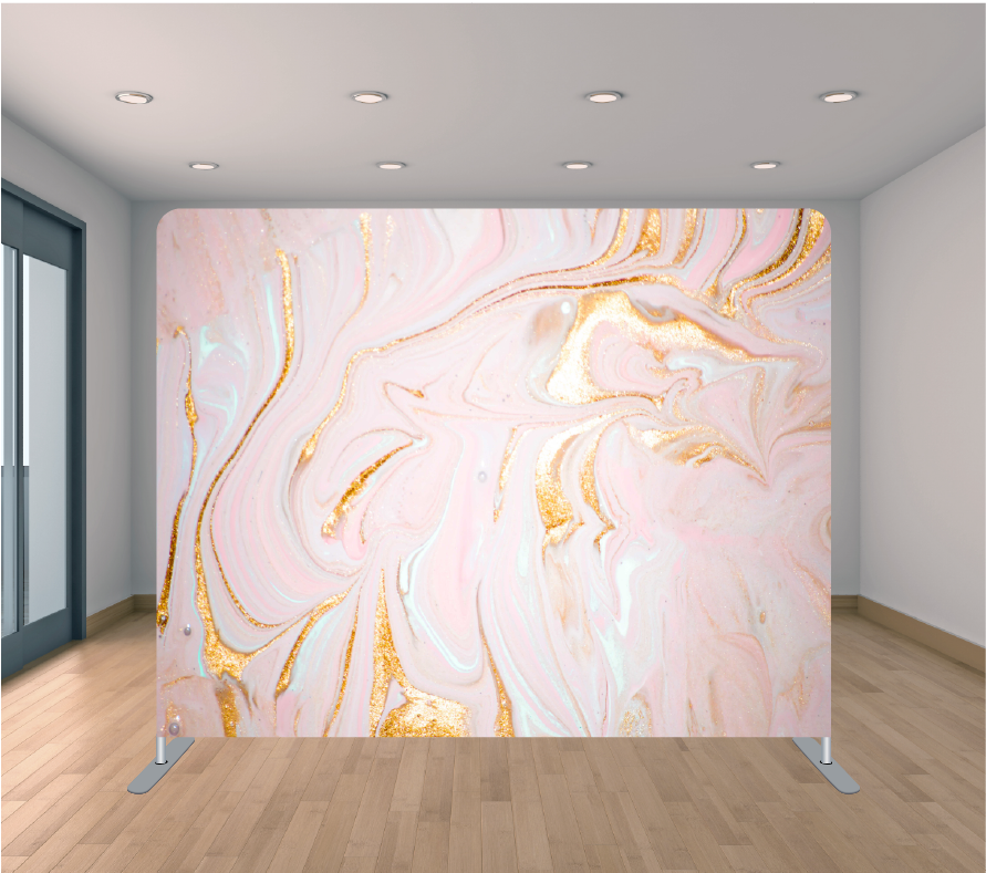 8X8ft Pillowcase Tension Backdrop- Pink and Gold Swirl