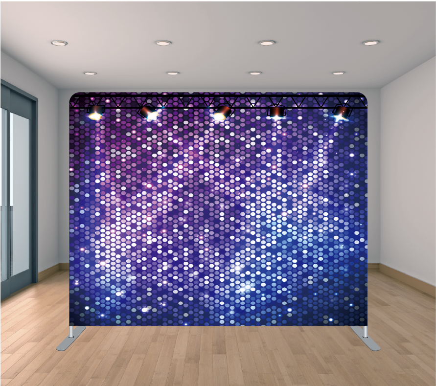 8X8ft Pillowcase Tension Backdrop- Purple and Blue Spotlights