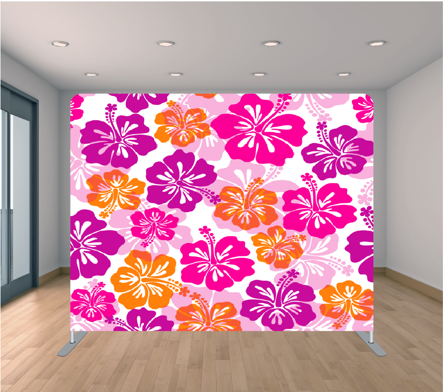 8X8ft Pillowcase Tension Backdrop- Purple and Orange Flowers