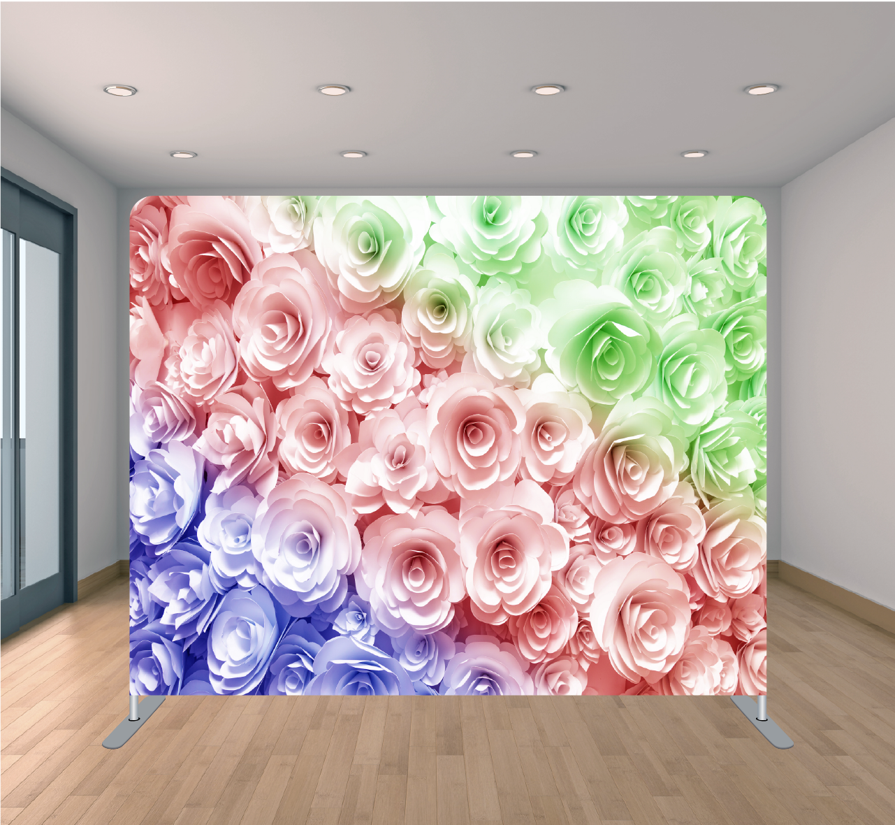 8X8ft Pillowcase Tension Backdrop- Rainbow Floral