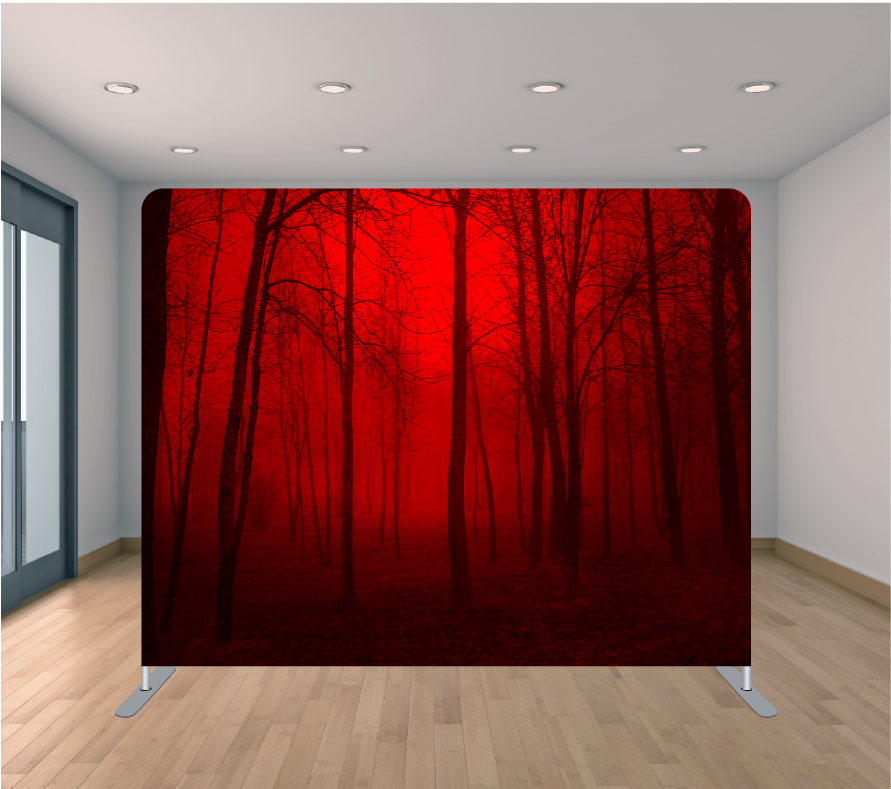 8x8ft Pillowcase Tension Backdrop- Red Forest (Halloween)