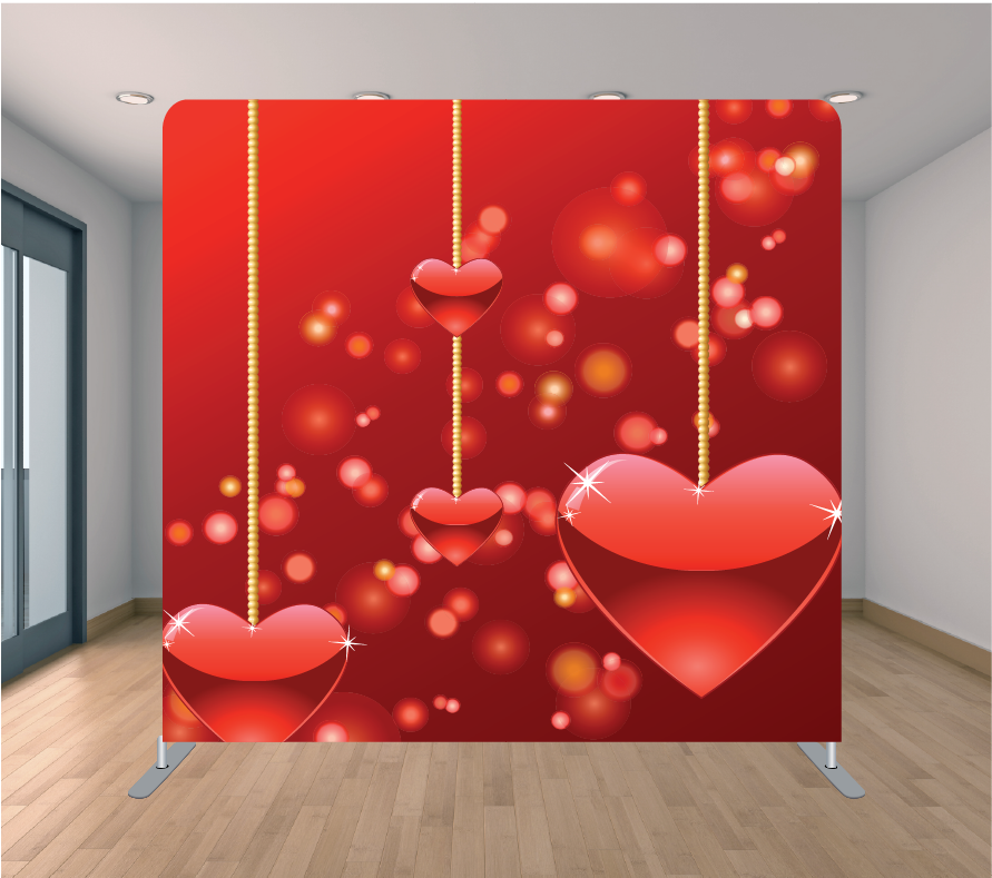 8x8ft Pillowcase Tension Backdrop- Hanging Hearts