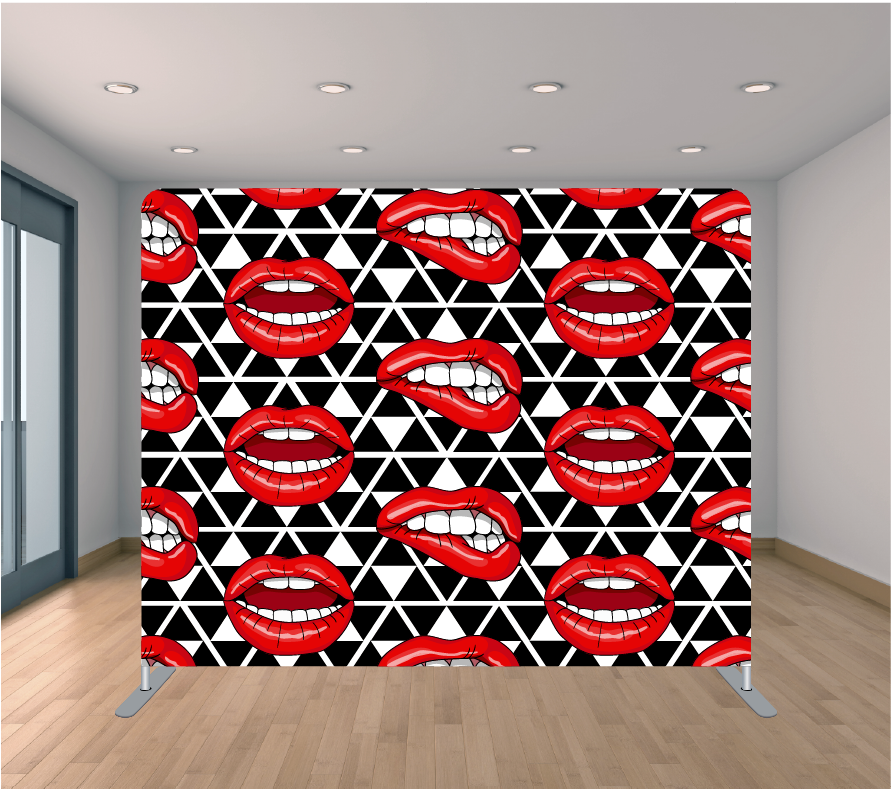 8X8ft Pillowcase Tension Backdrop- Red Lipstick