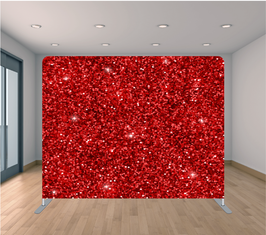 8x8ft Pillowcase Tension Backdrop- Red Sparkle