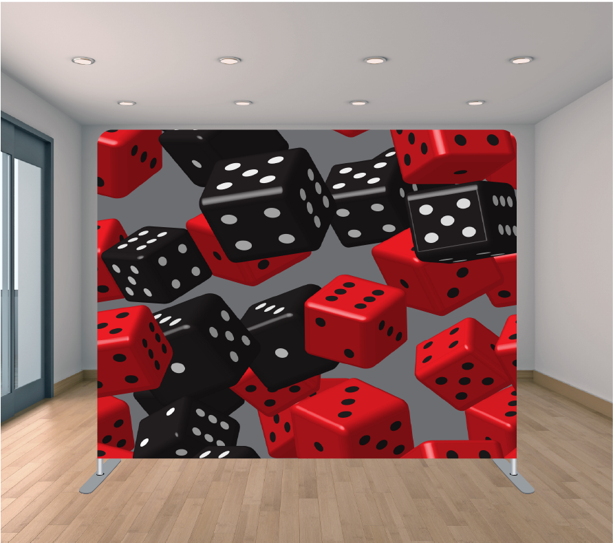 8X8ft Pillowcase Tension Backdrop-Roll the Dice