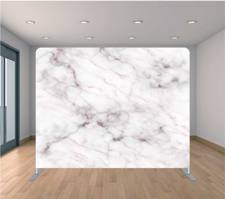 8X8ft Pillowcase Tension Backdrop- Rose Gold Marble 1