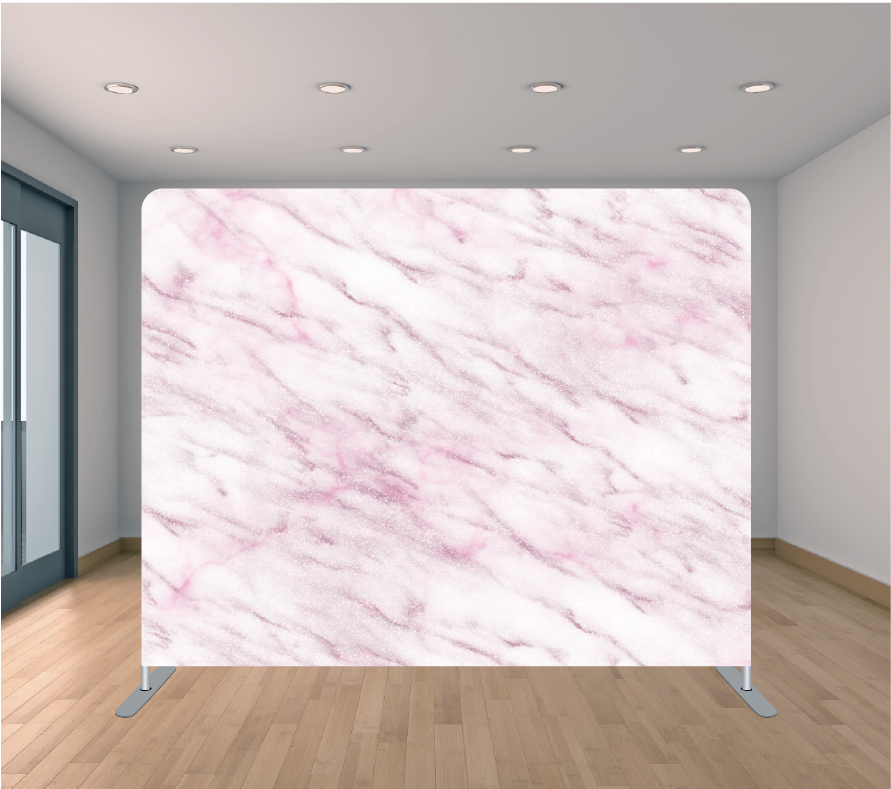 8X8ft Pillowcase Tension Backdrop- Rose Gold Marble 2