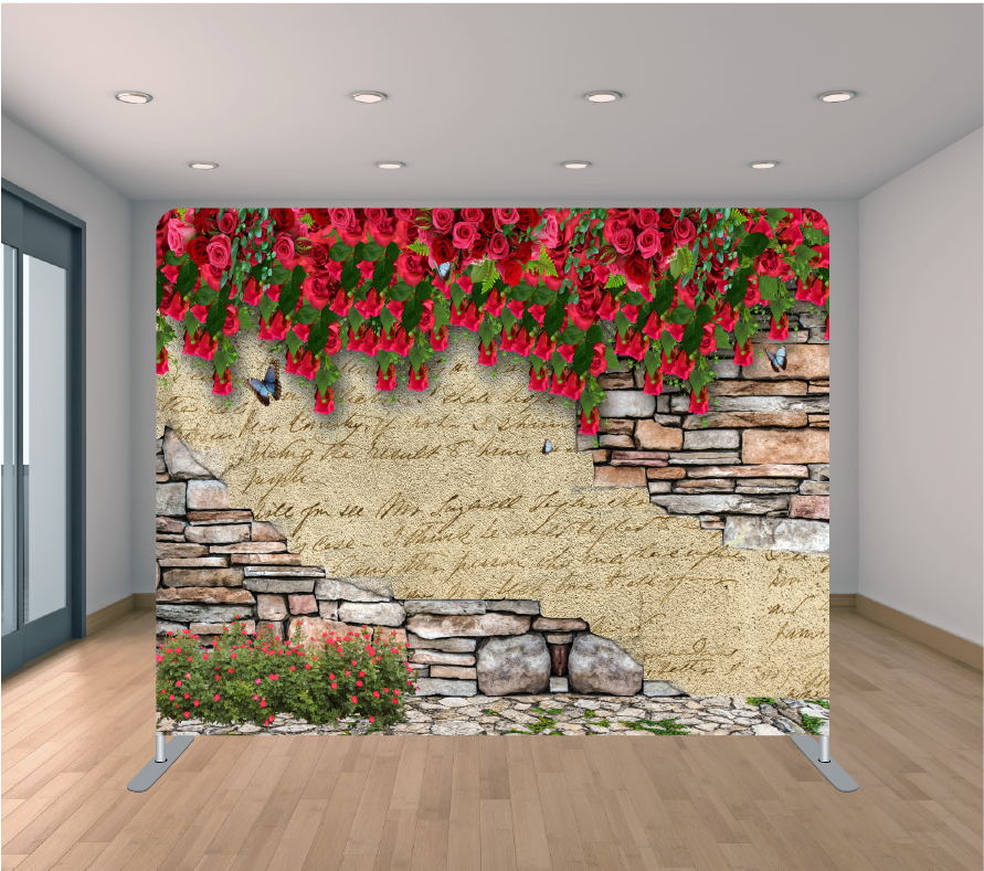 8X8ft Pillowcase Tension Backdrop- Roses and Bricks