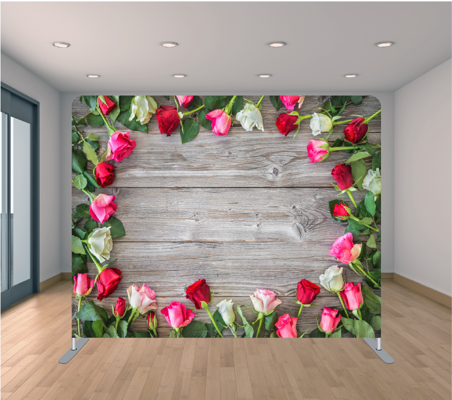 8X8ft Pillowcase Tension Backdrop- Roses Around Wood