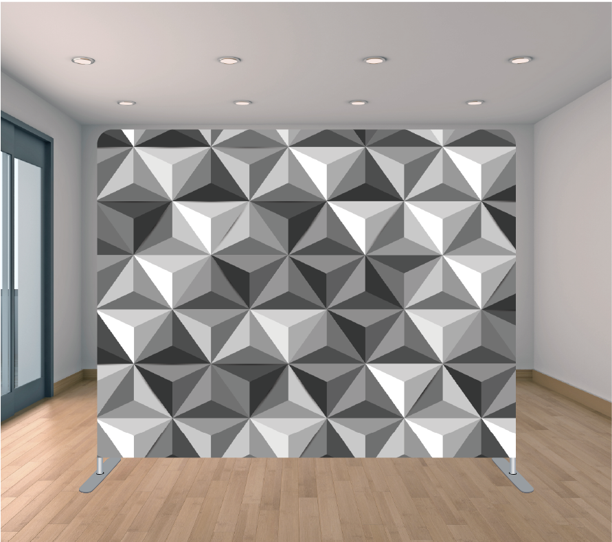 8X8ft Pillowcase Tension Backdrop- Silver Geometric