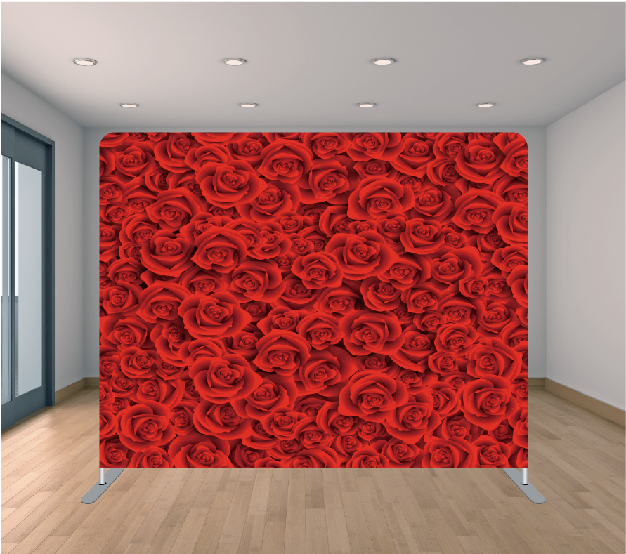 8x8ft Pillowcase Tension Backdrop- Small Red Roses