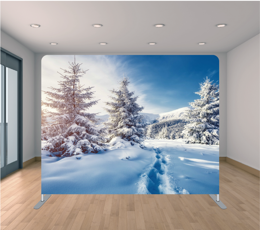 8X8ft Pillowcase Tension Backdrop- Snow Trail (Holiday)