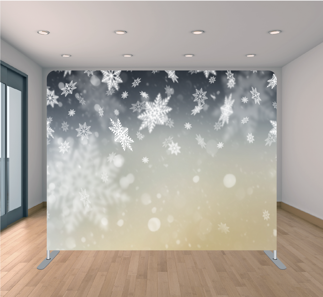8x8ft Pillowcase Tension Backdrop- Snowflake Bokeh