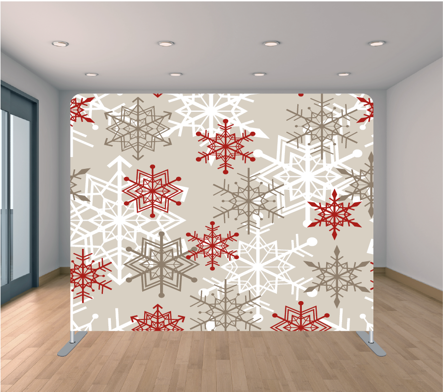 8x8ft Pillowcase Tension Backdrop- Snowflakes