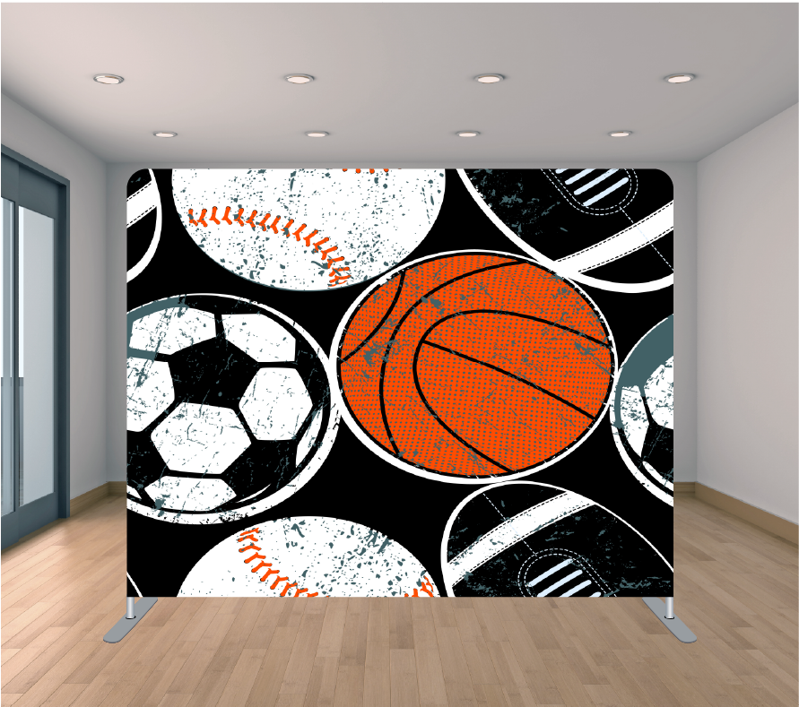8X8ft Pillowcase Tension Backdrop- Sports
