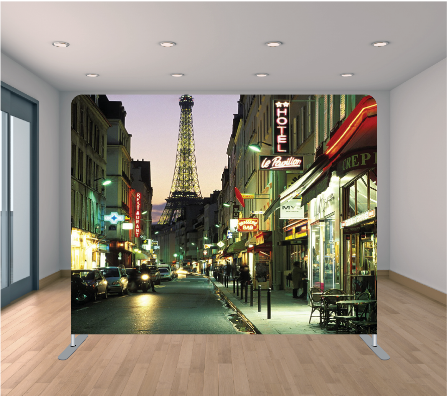 8X8ft Pillowcase Tension Backdrop- Streets of Paris