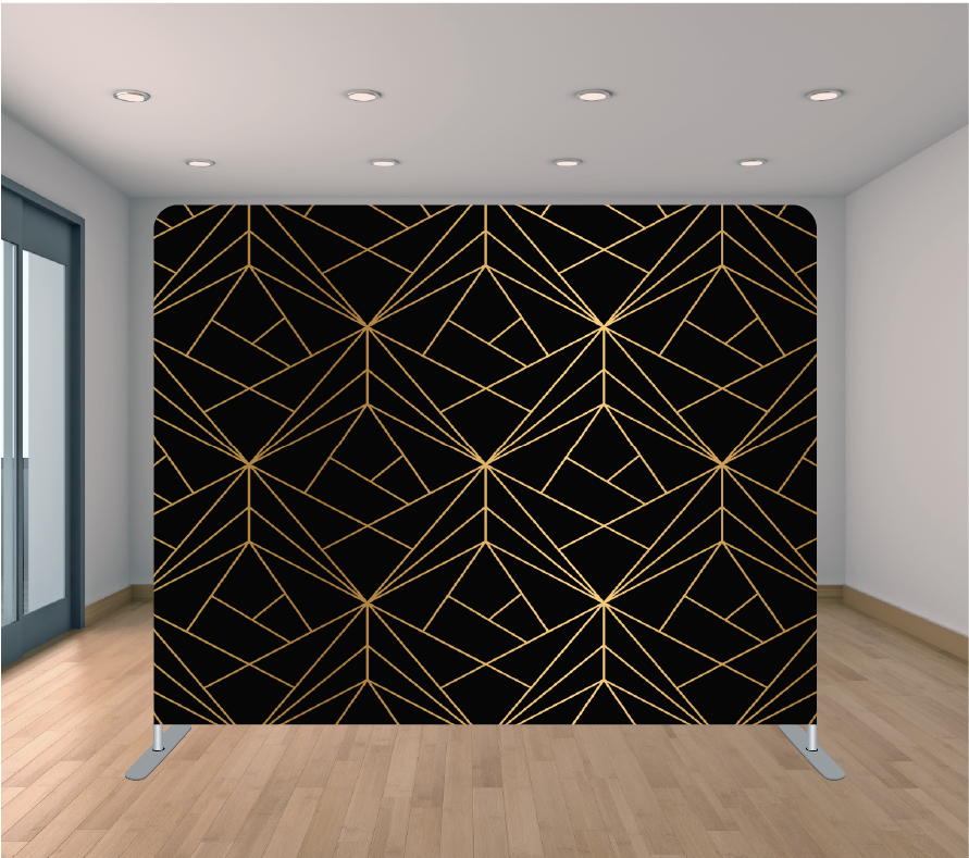 8X8ft Pillowcase Tension Backdrop- Super Black and Gold Geometric