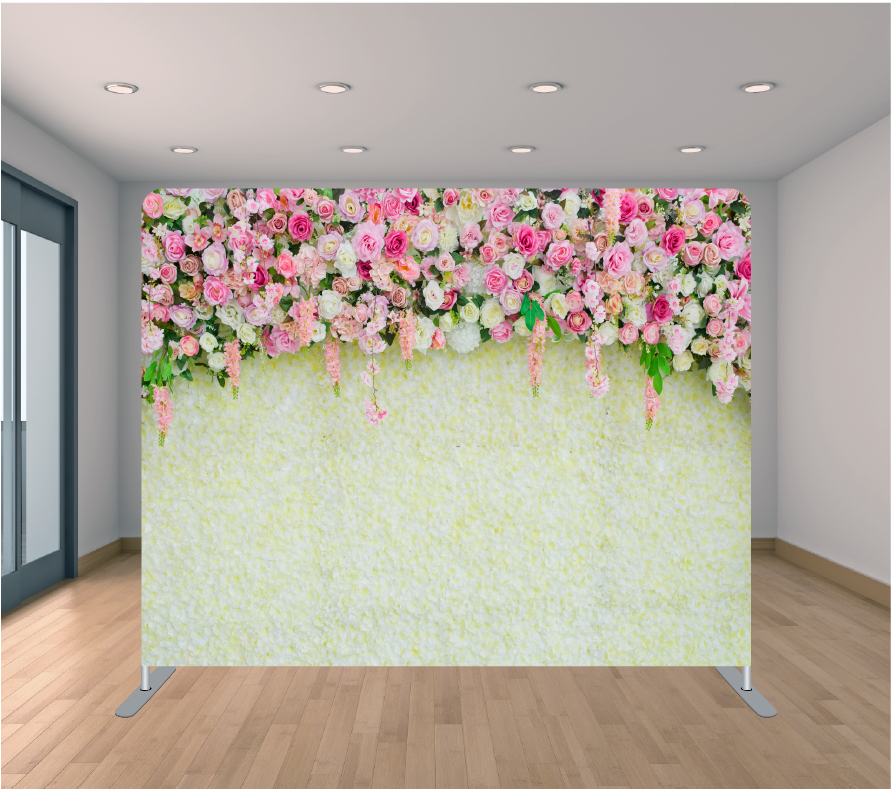8x8ft Pillowcase Tension Backdrop- Flower Wall 2
